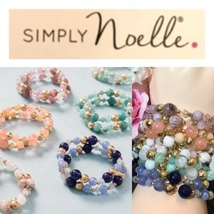 5x Simply Noelle Stretchy Stacking Beaded Bracelet